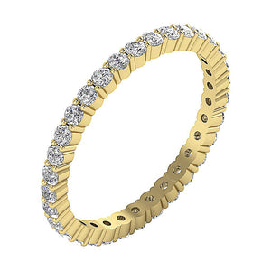 Side View Yellow Gold Prong Set Eternity Ring-ETR-132A-3