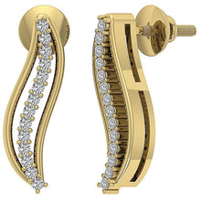 Load image into Gallery viewer, Side View Yellow Gold Earrings-DE179
