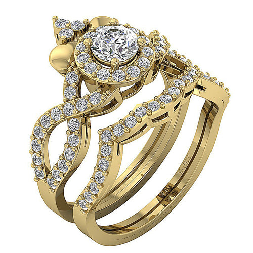 14k Yellow Gold Prong Set Designer Halo Ring-CR-200