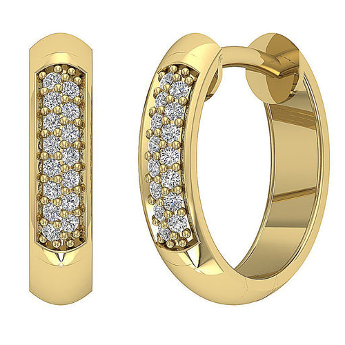 Small Diamond Yellow Gold Hoops Earring-DE219-3