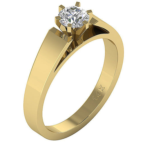 Solitaire Round Diamond Designer Wedding Ring I1 G 0.80 Ct 14K Yellow Gold Six Prong Set 6.70MM