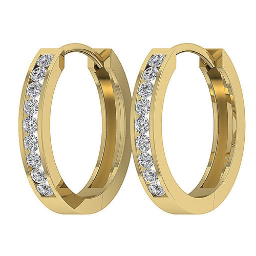 Yellow Gold Small Hoops Earring-E-625-7