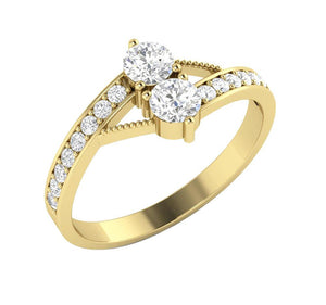 Forever Us Two Stone Designer Solitaire Wedding Ring Natural Diamond I1 G 0.80 Ct