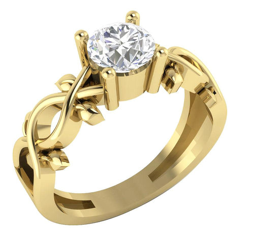Yellow Gold Solitaire Engagement Ring-DSR328