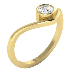 Yellow Gold Solitaire Anniversary Ring-DSR379