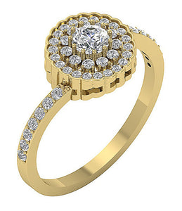 Halo Solitaire Anniversary Ring 14k Solid Gold-DSR634-1