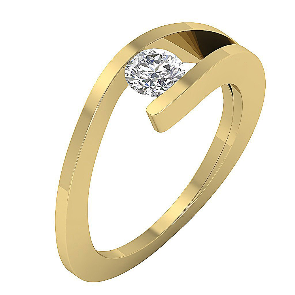 Solitaire Natural Diamond Designer Anniversary Ring I1 G 0.55 Ct 14K Yellow Gold Bar Set 7.30MM