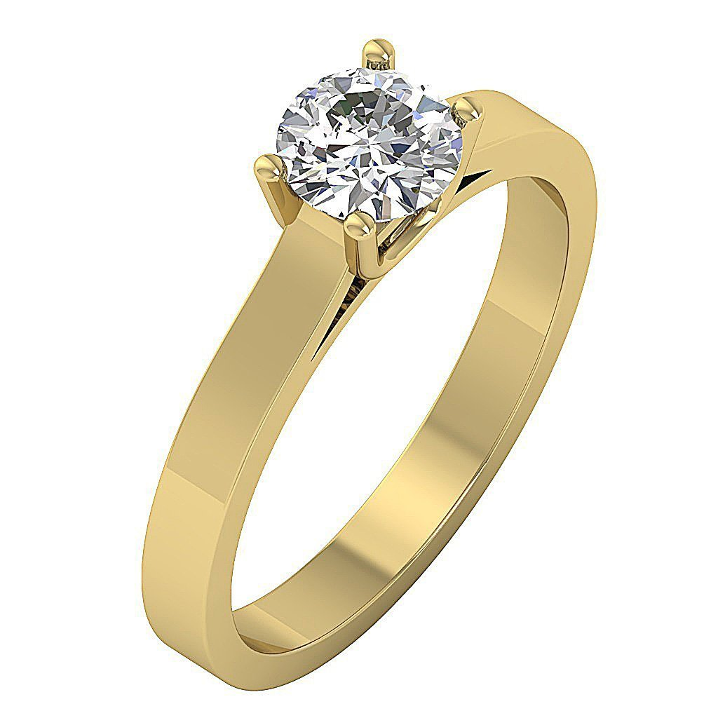 14k Solid Gold Solitaire Anniversary Ring-SR-664-0.80-3