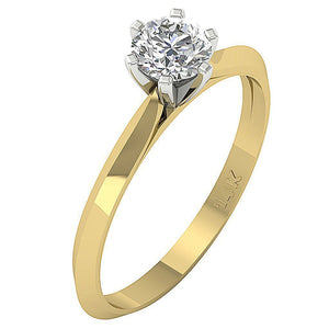 14K Yellow Gold Solitaire Natural Diamond Designer Wedding Ring SI1 G 0.55 Carat Prong Set 5.30MM