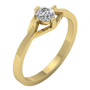 Yellow Gold Solitaire Anniversary Ring Side View-SR-752-3