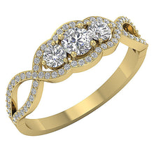 Load image into Gallery viewer, Three Stone Anniversary Ring 14k Solid Gold-DTR150 TR-133-4