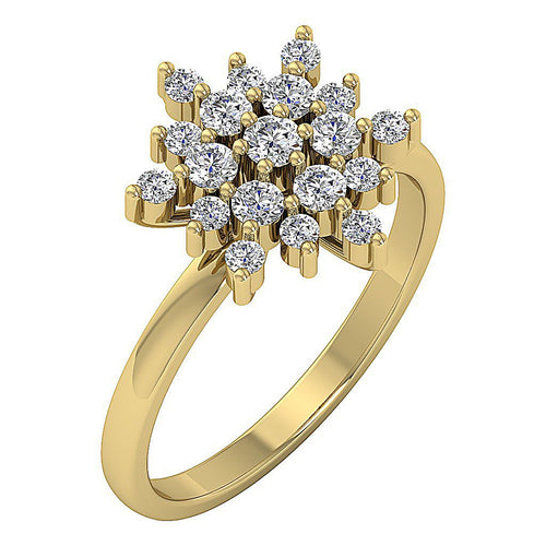 14k White Yellow Rose Gold Prong Set Natural Diamond I1 G 0.85 Ct Right Hand Vintage Designer Ring 13.80MM