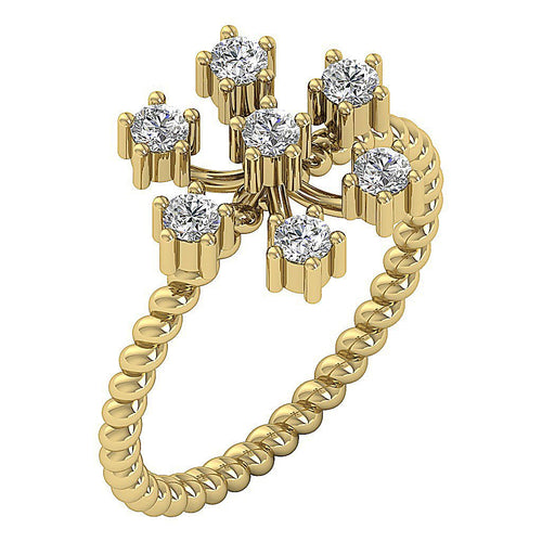 Right Hand Unique Designer Ring Natural Diamond SI1 G 0.55 Ct 14k Yellow Gold Prong Set 12.20MM