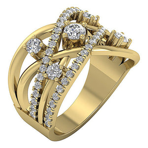 14k White Yellow Rose Gold Prong Set Natural Diamond SI1 G 1.40 Ct Right Hand Wedding Ring 14.65MM