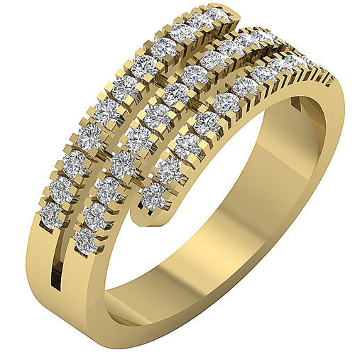 Right Hand Designer Wedding Ring VS1 E 1.01 Ct Round Diamond 14k Yellow Gold Prong Set 7.80MM