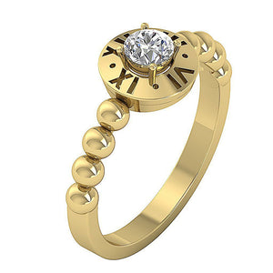 14K Solid Gold Solitaire Natural Diamond Designer Wedding Ring SI1 G 0.35 Ct 4 Prong Set 8.90MM
