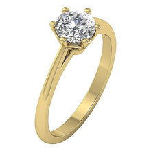 Load image into Gallery viewer, 14K Solid Gold Solitaire Natural Diamond Designer Wedding Ring I1 G 1.00 Ct 6 Prong Set 7.20MM