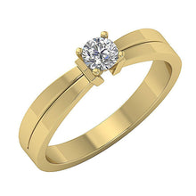 Load image into Gallery viewer, 14K Yellow Gold Solitaire Round Diamond Designer Wedding Ring SI1 G 0.35 Ct Prong Set 4.40MM
