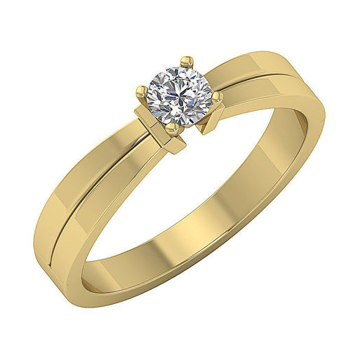 14K Yellow Gold Solitaire Round Diamond Designer Wedding Ring SI1 G 0.35 Ct Prong Set 4.40MM