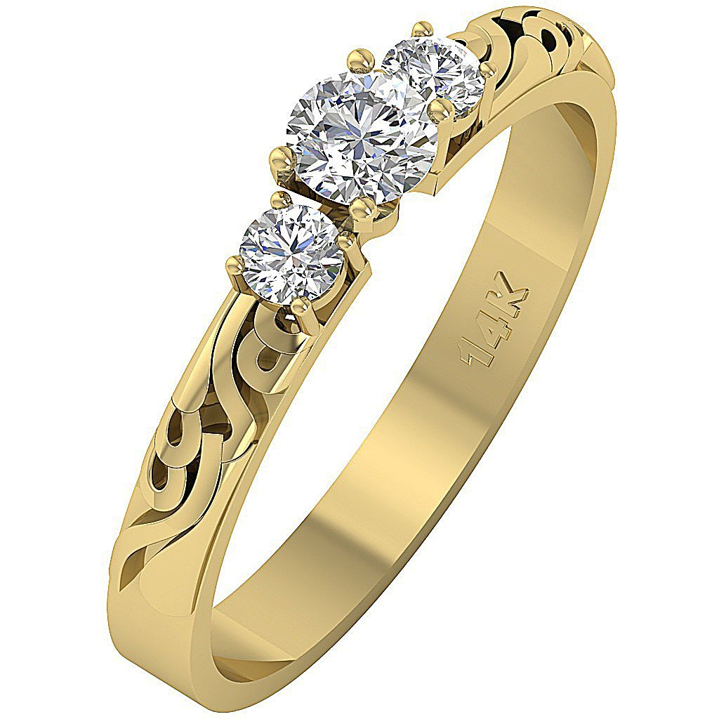 Designer 3 Stone Wedding Ring 14k Solid Gold-TR-125-3