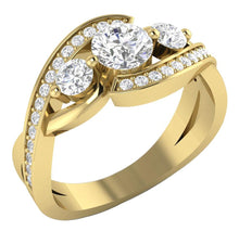 Load image into Gallery viewer, Designer Three Stone Wedding Ring Natural Round Diamond I1 G 1.35 Ct Prong Set Width 9.60MM