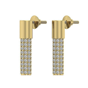 Lenght 0.59inch Yellow Gold Earrings-DE201