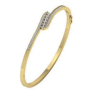 Diamond Bangles Round Diamonds Prong & Channel Set 14k Solid Gold SI1/I1 G 1.05Ct