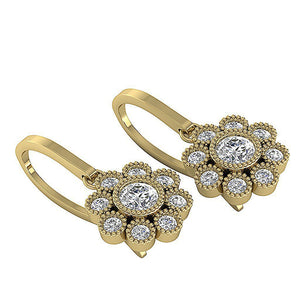 Yellow Gold Halo Bezel Set Earrings-DE108