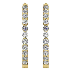 Inside Outside Hoop Earrings Round Cut Diamonds 14k White Yellow Rose Gold I1 G 0.75 Ct