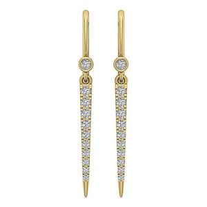 Dangle Earrings I1 G 0.30Ct Natural Diamonds Prong & Bezel Set 14k White Yellow Rose Gold