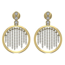 Load image into Gallery viewer, Dangle Chandelier Earrings 14k Solid Gold I1 G 1.00 Ct Natural Diamonds Prong & Bezel Set
