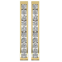 Load image into Gallery viewer, Large Hoops Earrings 14k White Yellow Rose Gold Natural Diamonds I1 G 1.80 Ct Channel Set