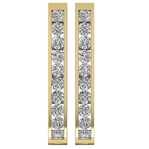 Large Hoops Earrings 14k White Yellow Rose Gold Natural Diamonds I1 G 1.80 Ct Channel Set