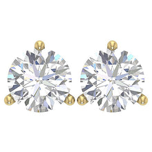 Load image into Gallery viewer, Martini 3 Prong 14k Gold Diamond Earring-E-435-2.10-1