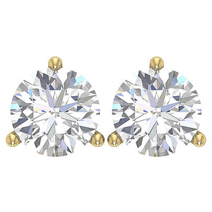 Martini 3 Prong 14k Gold Diamond Earring-E-435-2.10-1