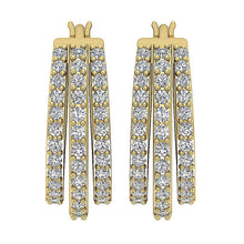 Load image into Gallery viewer, Large Hoops Earrings SI1 G 1.00 Ct Natural Diamonds 14k White Yellow Gold
