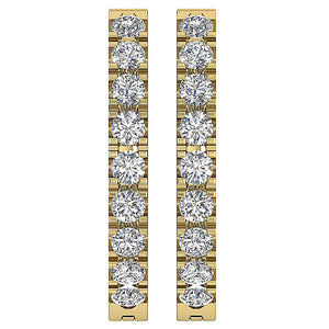 Round Cut Diamond Earring Yellow Gold-E-576-1
