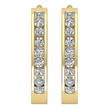 Load image into Gallery viewer, Small Hoop Earrings SI1 G 0.40 Ct 14k White Yellow Rose Gold Natural Diamonds Channel Set 0.59 Inch