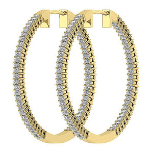 Inside Outside Hoop Earrings Natural Diamonds I1 G 2.00 Ct Pave Set 14k White Yellow Gold