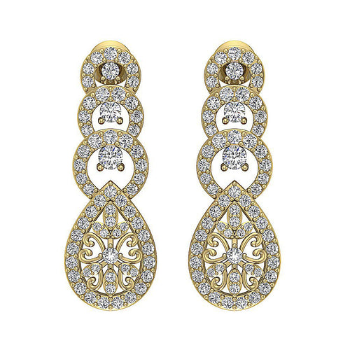 Dangle Chandelier Earrings 14k Solid Gold I1 G 1.60 Ct Round Cut Diamonds