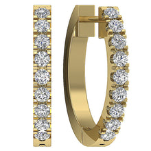 Load image into Gallery viewer, Natural Diamond Yellow Gold Hoops Earring-E-576-4