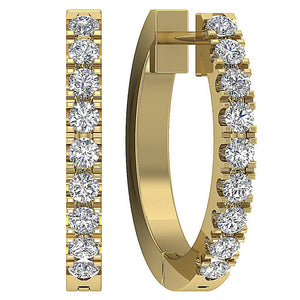 Natural Diamond Yellow Gold Hoops Earring-E-576-4