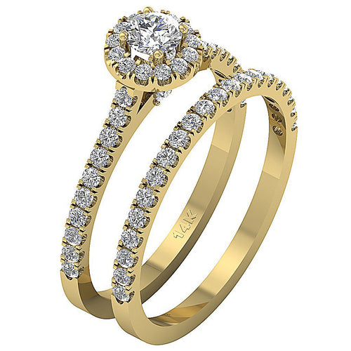 14k Yellow Gold Natural Diamond Designer Anniversary Ring-CR-135
