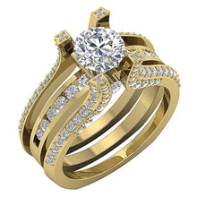Load image into Gallery viewer, 14k Yellow Gold Natural Diamond Bridal Ring Set-DCR109