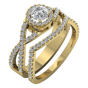 Natural Diamond 14k Yellow Gold Prong Set Ring-DCR133