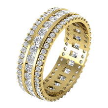 Load image into Gallery viewer, Designer Anniversary's gift Eternity Ring Prong Channel Set I1 G 2.50ct Round Diamond 14k White Gold