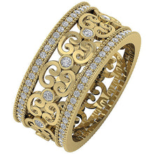 Load image into Gallery viewer, Designer Wedding Eternity Ring I1 G 1.00 ct 14k Yellow Gold Natural Diamond Prong Bezel Set