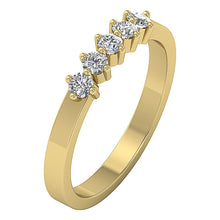Load image into Gallery viewer, Designer Five Stone Wedding Ring Round Diamond I1 G 0.50 ct 14k Yellow Gold