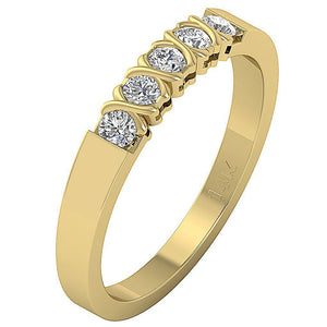 14k Yellow Gold Natural Round Cut Diamond Ring-DFR29