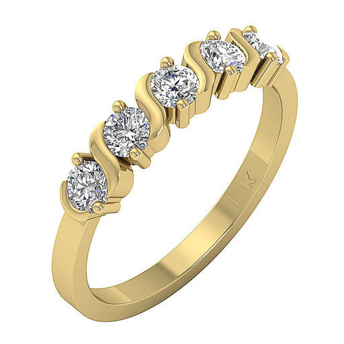 Round Cut Diamond Yellow Gold Ring-DFR42